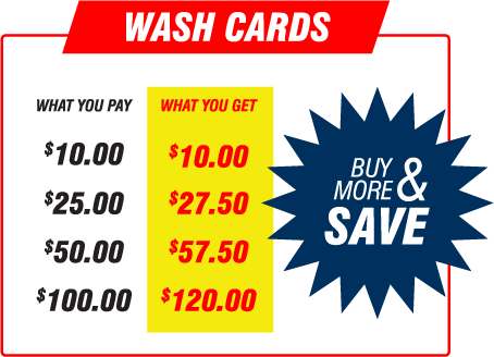 Refillable Wash Cards